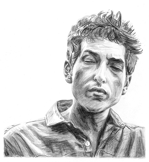 "Bob Dylan. 11""x13"" Colored Pencil. 2011"