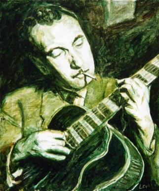 """Django Reinhardt. 20""""x24"""" Acrylic on canvas. 2003"""