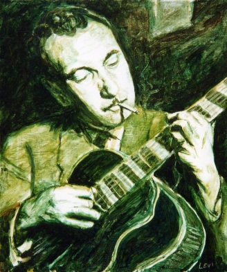 "Django Reinhardt. 20""x24"" Acrylic on canvas. 2003"