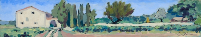 "Mas Pichony, Provence. 4""x16"" Acrylic on paper. 2000"
