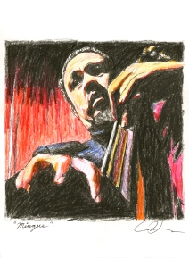 Charles Mingus. 8x8 inches. Pen & Colored Pencil. 2011