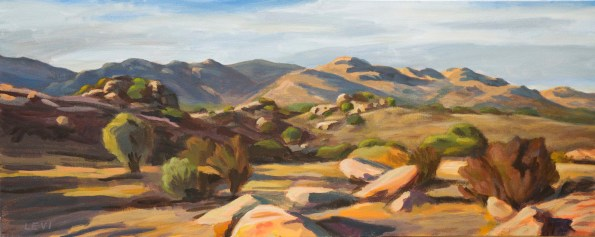 "Sundown At Woolsey Canyon. 18""x40"" Acrylic on canvas. 2014"