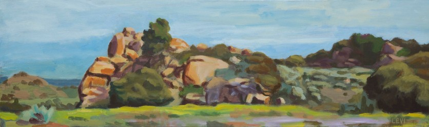 "Woolsey Canyon Panorama. 12""x40"" Acrylic on canvas. 2013"