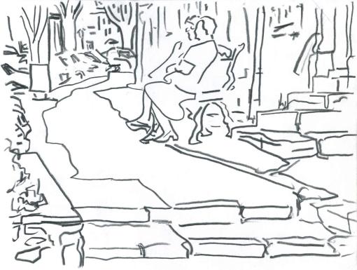"Paris Bench. 7""x9"" Pencil. 2000"
