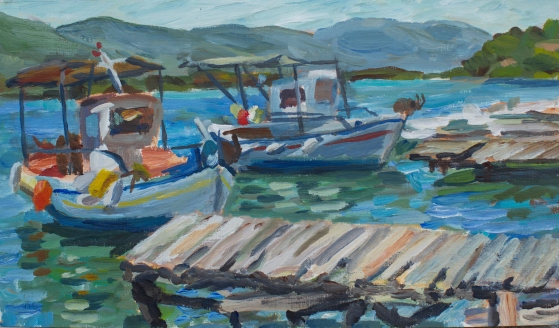 "Poros Boats. 9.5""x16"" Acrylic on canvas. 2017"